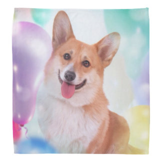 Lächelnder Corgi mit Ballonen Kopftuch