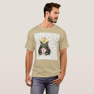 Lächelnder Gato Gordo Kronewatercolor-seltener T - T-Shirt
