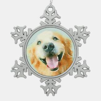 Lächelnder golden retriever-Hund im Aquarell Schneeflocken Zinn-Ornament