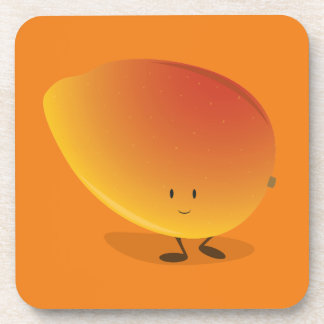Lächelnder Mango-Charakter Getränkeuntersetzer