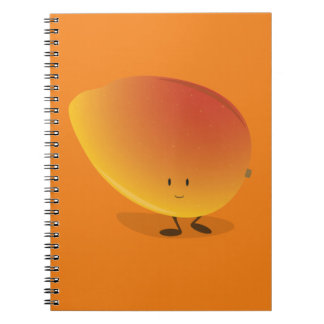 Lächelnder Mango-Charakter Spiral Notizblock