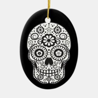 Lächelnder Zuckerschädel Ovales Keramik Ornament