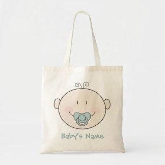 Lächelndes Baby mit blauem Schnuller Budget Stoffbeutel