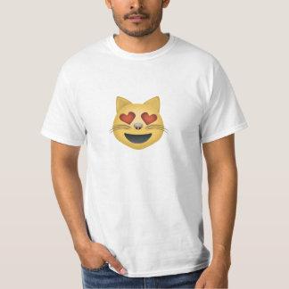 Lächelndes Katzen-Gesicht mit Herz-geformten Augen T-Shirt