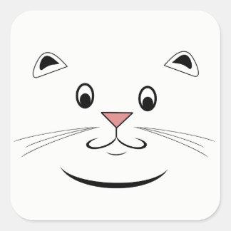 Lächelndes Miezekatze-Katzen-Gesicht Quadratischer Aufkleber