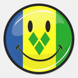 Lächelndes St. Vincent und Grenadinen-Flagge Runder Aufkleber
