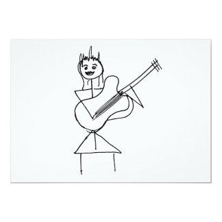 Lächelndes Strichmännchen-Mädchen, das Baß/Gitarre 12,7 X 17,8 Cm Einladungskarte