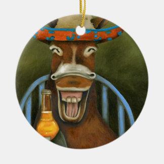 Lachender Esel Rundes Keramik Ornament