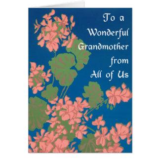 Lachsrosa-Pelargonien auf tiefem Blau, Großmutter Karte