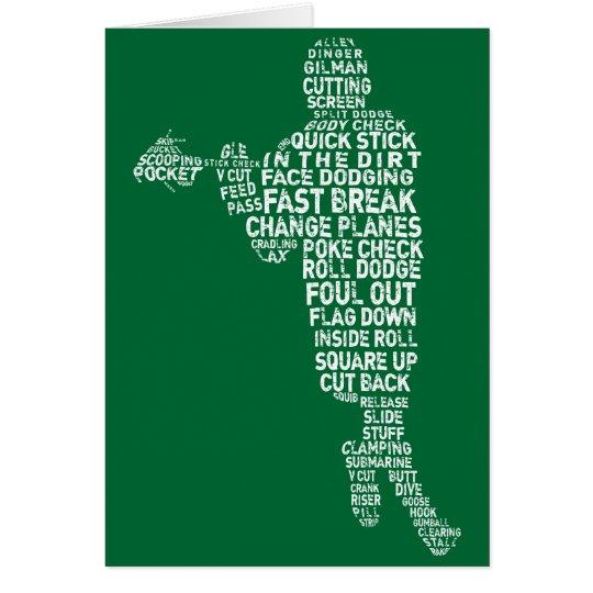 Lacrosse-Spieler-Typografie-Gruß-Karten Karte