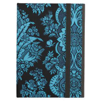 Lacy Vintages Blumen - helles Aqua auf Schwarzem