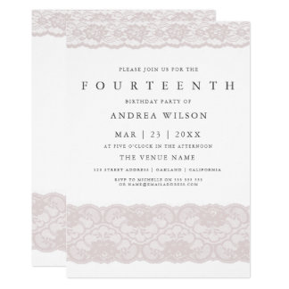 Laden 14. Party Geburtstag der Mädchen-rosa Karte