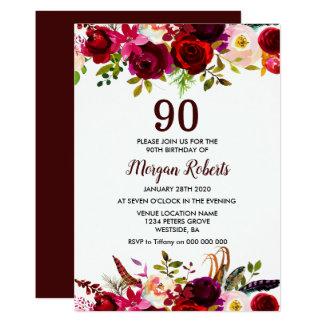 Laden elegantes 90. Geburtstags-mit BlumenParty Karte