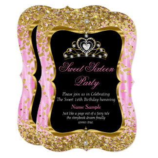 Laden rosa Goldschwarzes Tiara-Prinzessin-Sweet 16 12,7 X 17,8 Cm Einladungskarte