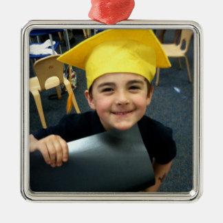 Laden Sie Ihr Foto für personalisiertes Quadratisches Silberfarbenes Ornament