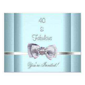 Laden Sie Party-Silber-Bogen-fabelhaftes 40. Blau Karte