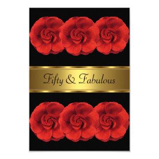 Laden Sie rotes Blumen-schwarzes Goldfabelhaftes Karte