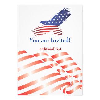 Laden Sie Schablonen-politische Flagge u Eagle Einladungskarte