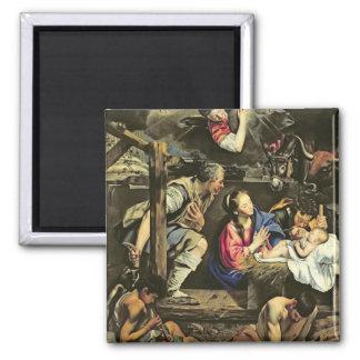 L'adoration des bergers, 1612 (huile sur le canva magnet carré
