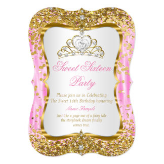 Lädt rosa Goldweiß Tiara-Prinzessin-Sweet 16 ein Karte