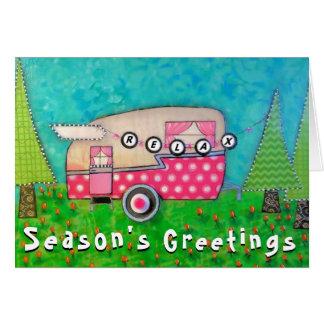 Lagerbewohner-Weihnachtskarten-Rosa-Retro Camper Karte