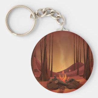 Lagerfeuer im Wald Schlüsselanhänger