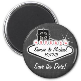 L'aimant de Las Vegas - faites gagner la date - en Magnet Rond 8 Cm