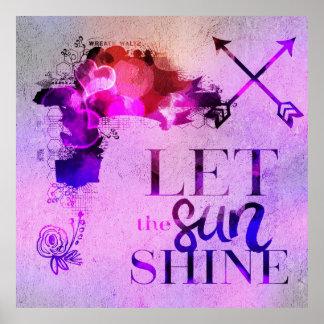 Laissez le soleil briller, girly coloré de lavande posters