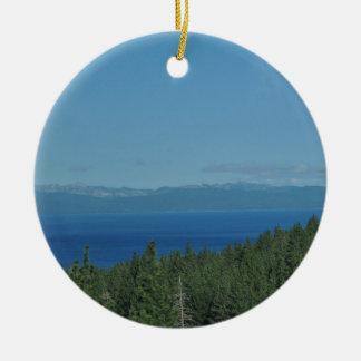 Lake Tahoe Rundes Keramik Ornament