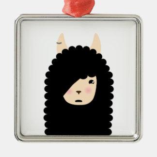 Lama Emoji gotisch Silbernes Ornament