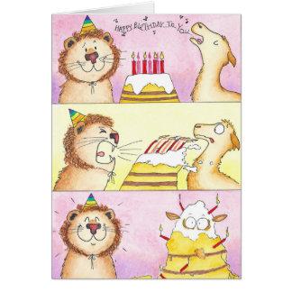 Lama GEGEN Löwe-Geburtstagsgrußkarte Karte