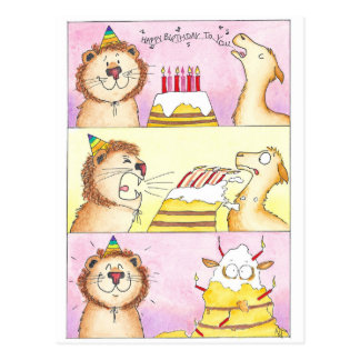 Lama GEGEN Löwe-Geburtstagspostkarte durch Nicole Postkarte