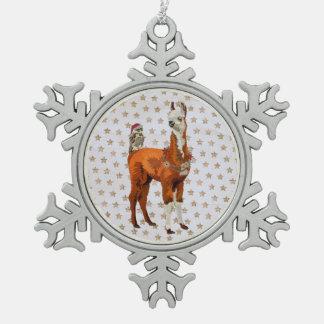 LAMA-u. EULEN-STERN Verzierung Schneeflocken Zinn-Ornament