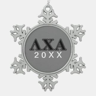 Lambda-Chi-Alpha-gotische Schriften Schneeflocken Zinn-Ornament