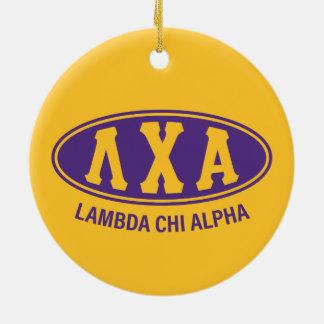Lambda-Chi-Alpha   Vintag Rundes Keramik Ornament