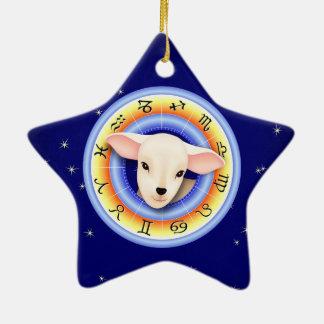Lamm im Tierkreis-Rad Keramik Ornament