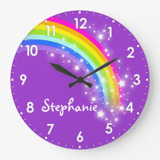L'amusement badine l'horloge murale de pourpre de  grande horloge ronde
