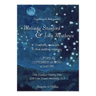 Land-Blau-Nacht der Hochzeits-Einladungs-  Karte