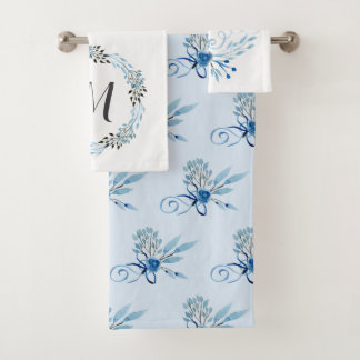 Land-blaues Aquarell mit Blumen Badhandtuch Set