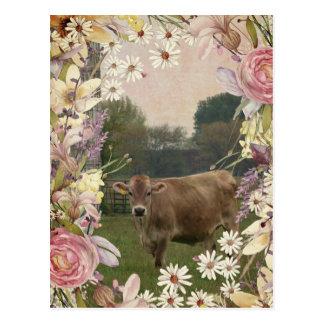 Land-Blumen-Jersey-Kuh Postkarte
