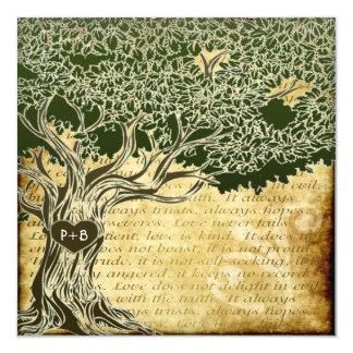 Land-Eichen-Baum-Vintage Hochzeits-Einladungen Quadratische 13,3 Cm Einladungskarte