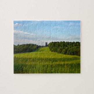 Land-Feld im Abends-Puzzlespiel
