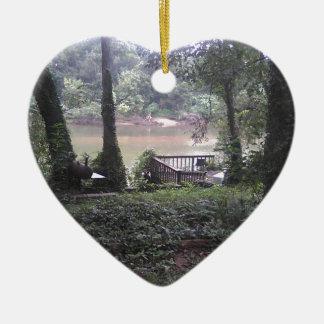 Land-Fluss Keramik Herz-Ornament