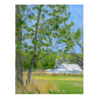 Land-Frühling farbiges Bleistift-Zeichnen Postkarte