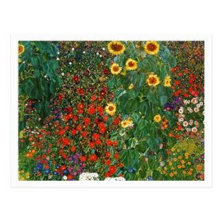 Land-Garten mit Sonnenblumen Postkarte