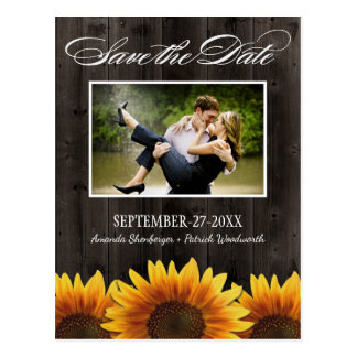 Land-hölzerne rustikale Sonnenblume-Save the Date Postkarte