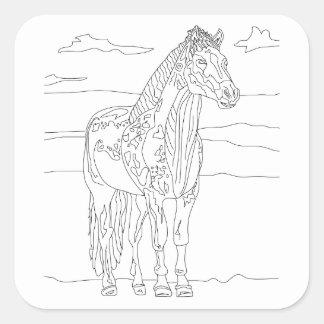 Land-lebendes Pferd Quadratischer Aufkleber