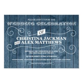 Land-rustikale blaue hölzerne Vintage Hochzeit 12,7 X 17,8 Cm Einladungskarte