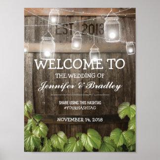 Land-rustikale Fass-Rebe, die | Hashtag Wedding Poster