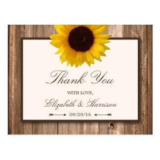 Land-rustikale Sonnenblume u. hölzerne Hochzeit Postkarte